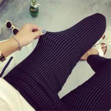 [PRE-ORDER] Women Plus Size XXXL Stripes Elastic Casual Long Pants
