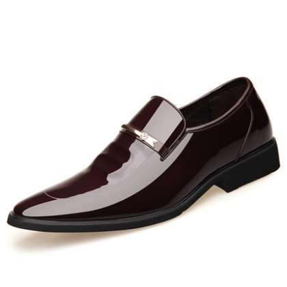 Men Fashion Soft Sole Office Formal Wear Patent Leather Pointed Toe Shoes