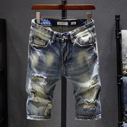 Men Clothing Slim Ripped Jeans Japanese Retro Shorts