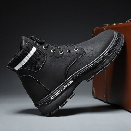 Men Fashion Martin Boots Mid-cut Tooling Trendy Shoes