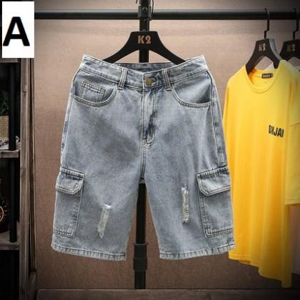 Men Clothing New Summer Five-point Denim Short Pants