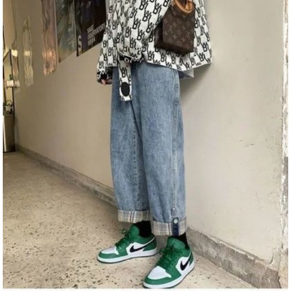 Men Clothing Retro Hong Kong Denim Wide Leg Loose Trousers