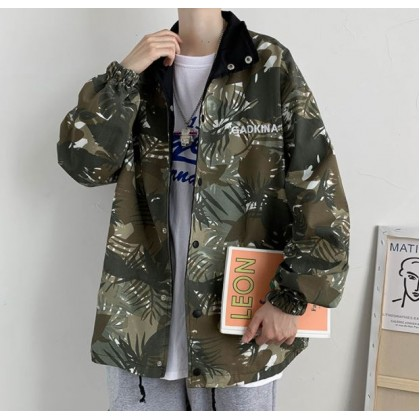 Men Clothing Camouflage Two-sided Jacket Stand-up Collar Hooded Top