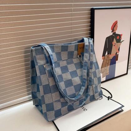 Women Bags Checkerboard Canvas Shoulder Denim Tote Bag