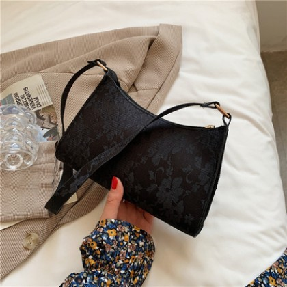 Women Bags French Armpit Baguette Lace Shoulder Bag