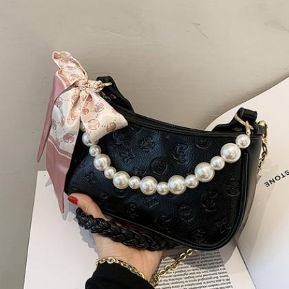 Women Bags Pearl Handle Embossed Design Crossbody Bag