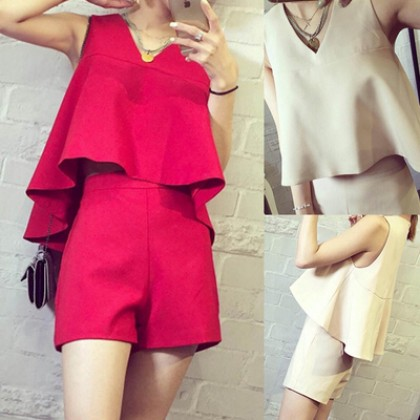 Women Two Pieces One Set Top Singlet + Short Pants