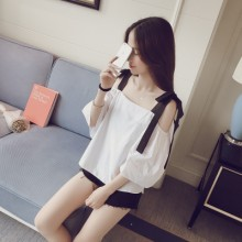 [PRE-ORDER] Women Ribbon Off Shoulder 3/4 Sleeve Blouse