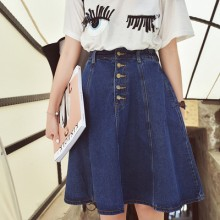 [PRE-ORDER] Women High Waist Denim Button Jeans Skirts