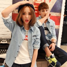 [PRE-ORDER] Men Couple Women Denim Jeans Long Sleeve Shirt
