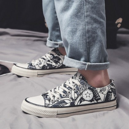 Men Fashion Sports Casual Trend Non-slip Graffiti Canvas Shoes