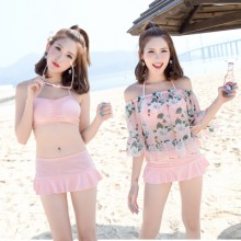 [PRE-ORDER] Women 3 in 1 Strap Bra + Skirts + Off Shoulder Blouse Bikini Set
