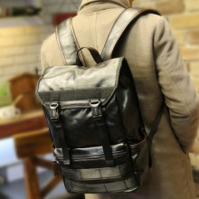[PRE-ORDER] Men PU Leather Bucket PC Laptop Student Bag
