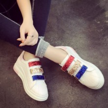[PRE-ORDER] Women Shiny Colorful Velcro Casual Sneakers
