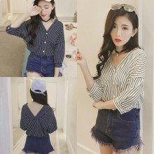 [PRE-ORDER] Women Casual Stripes 3/4 Sleeve V Neck Shirts