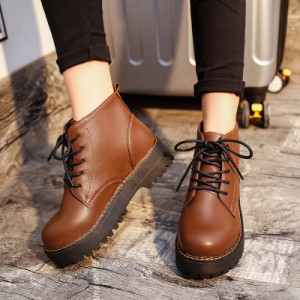 [READY STOCK] Women Retro Lacing Up PU Leather Martin Boots