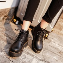 [PRE-ORDER] Women Retro Lacing Up PU Leather Martin Boots