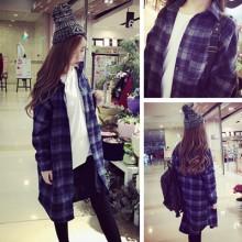 Korean Grid Blue Jacket Women Shirts Long Sleeve