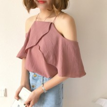 Women Strap Off Shoulder Lotus Leaf Collar Chiffon Blouse
