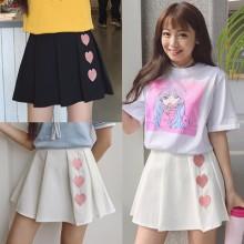 [PRE-ORDER] Women Embroidered Love Shape High Waist Pleated Mini Skirt