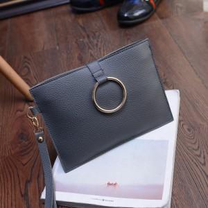 Women PU Leather Ring Envelope Handbag Sling Bag