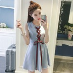 [PRE-ORDER] Women Korean Lace-Up Sleeveless Dress