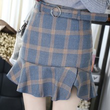 [PRE-ORDER] Women Korean Plaid Lotus Style Mini Skirt