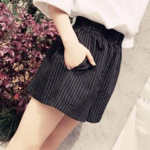 [PRE-ORDER] Women Korean Stripe High-Waist Wide Leg Shorts