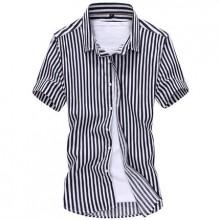 [PRE-ORDER] Men Korean Stripe Button-Down Short Sleeve Shirt