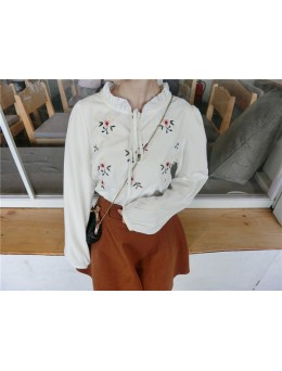 [PRE-ORDER] Women White Floral Embroidery Collared Top Long Sleeve Blouse