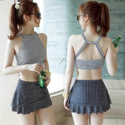 [READY STOCK] Women Checkered Swimwear Summer 2 Piece Tank & Skirt Set