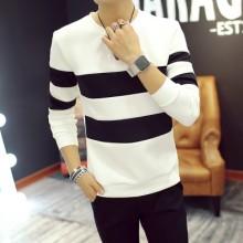 [PRE-ORDER] Men Korean Style Long Sleeve Stripe Round Neck T-Shirt