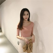 [PRE-ORDER] Women Korea Lotus Pink Slim Round Neck T-shirt