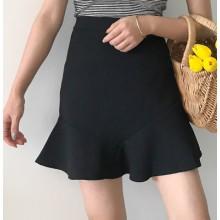 [PRE-ORDER] Women Retro Korean Solid Color Lotus Leaf A Shape Skirt