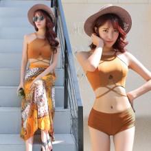 [PRE-ORDER] Women Khaki Swimsuit Three-piece suit Korean Split Swimwear