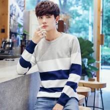 [PRE-ORDER] Men Korean Stripe Knit Sweater Long-sleeved T-shirt