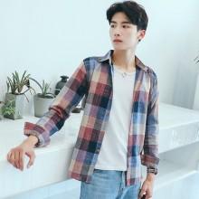 [PRE-ORDER] Men Korean Japanese Plaid Grid Long-sleeved Shirt Jacket
