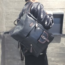 [PRE-ORDER] Men Hipster PU Leather Backpack Student Computer Bag