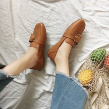 [PRE-ORDER] Women Korean Retro Square Flat Working Shoes