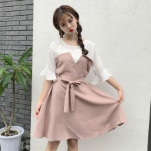 Women Korean Striped Lotus Leaf Sleeved Dress