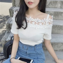 Women Flower Strapless Short-sleeved T-shirt