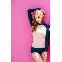 [PRE-ORDER] Women Korean Conservative Long-Sleeved High-Waisted Swimsuit