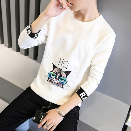 Men Round Neck Kitty No Warm Long-Sleeved T-shirt