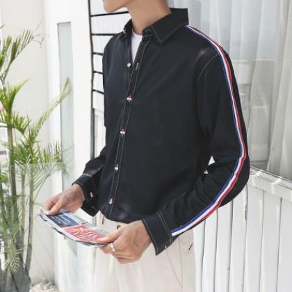 Men Japanese Stripes Long-sleeved Student Shirt Jacket