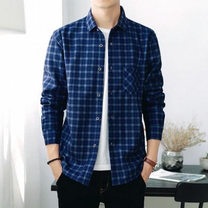 Men Plus Size XXXXL Casual Plaid Velvet Long-sleeved Shirt