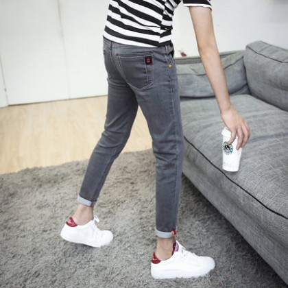 Men Korean Stretchable Slim Fit Long Pants Jeans
