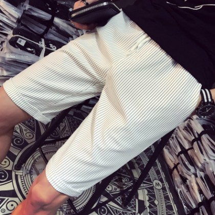 Men Plus Size XXXXXL Striped Casual Outing Elastic Short Pants