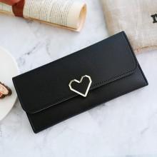 [PRE-ORDER] Women Plain Heart-shaped Long Section Card Slot Wallets