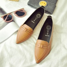 [PRE-ORDER] Women Pointed Shallow Mouth Retro Working Flat Shoes