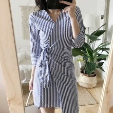 [PRE-ORDER] Women OL Office Long Sleeve Stripes Dress